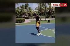 تقابل جالب پوگبا و لوکاکو روی حلقه بسکتبال در تور آمریکا