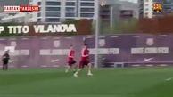 تمرینات تیم بارسلونا قبل از دیدار با لیورپول در لیگ قهرمانان